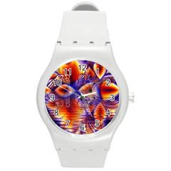 Winter Crystal Palace, Abstract Cosmic Dream Round Plastic Sport Watch Medium by DianeClancy