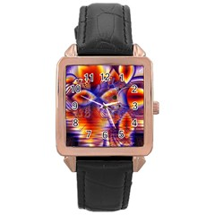 Winter Crystal Palace, Abstract Cosmic Dream Rose Gold Leather Watch  by DianeClancy