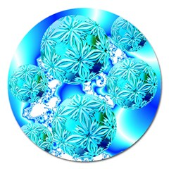 Blue Ice Crystals, Abstract Aqua Azure Cyan Magnet 5  (round) by DianeClancy