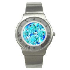 Blue Ice Crystals, Abstract Aqua Azure Cyan Stainless Steel Watch
