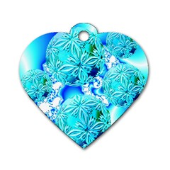 Blue Ice Crystals, Abstract Aqua Azure Cyan Dog Tag Heart (one Side) by DianeClancy