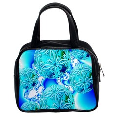 Blue Ice Crystals, Abstract Aqua Azure Cyan Classic Handbag (two Sides) by DianeClancy