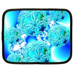 Blue Ice Crystals, Abstract Aqua Azure Cyan Netbook Case (xl) by DianeClancy