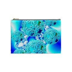 Blue Ice Crystals, Abstract Aqua Azure Cyan Cosmetic Bag (medium) by DianeClancy