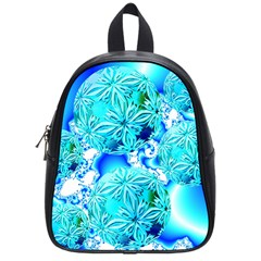 Blue Ice Crystals, Abstract Aqua Azure Cyan School Bag (small) by DianeClancy