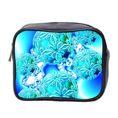 Blue Ice Crystals, Abstract Aqua Azure Cyan Mini Toiletries Bag (two Sides) by DianeClancy