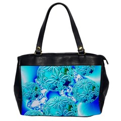 Blue Ice Crystals, Abstract Aqua Azure Cyan Oversize Office Handbag (one Side) by DianeClancy
