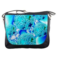Blue Ice Crystals, Abstract Aqua Azure Cyan Messenger Bag by DianeClancy