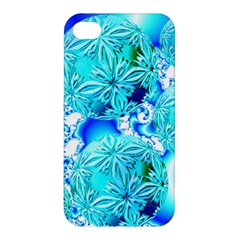 Blue Ice Crystals, Abstract Aqua Azure Cyan Apple Iphone 4/4s Premium Hardshell Case by DianeClancy
