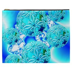 Blue Ice Crystals, Abstract Aqua Azure Cyan Cosmetic Bag (xxxl) by DianeClancy