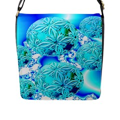 Blue Ice Crystals, Abstract Aqua Azure Cyan Flap Closure Messenger Bag (large) by DianeClancy