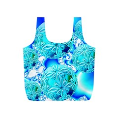 Blue Ice Crystals, Abstract Aqua Azure Cyan Full Print Recycle Bag (s) by DianeClancy