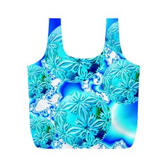 Blue Ice Crystals, Abstract Aqua Azure Cyan Full Print Recycle Bag (m) by DianeClancy