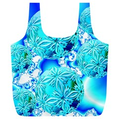 Blue Ice Crystals, Abstract Aqua Azure Cyan Full Print Recycle Bag (xl) by DianeClancy