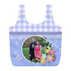 Blue Country Gingham Recycle Bag (l) By Kim Blair   Full Print Recycle Bag (l)   G76iim78wenb   Www Artscow Com Back