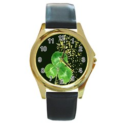 Clover Round Leather Watch (gold Rim)  by Rbrendes