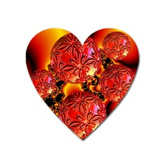Flame Delights, Abstract Red Orange Magnet (heart) by DianeClancy