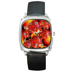 Flame Delights, Abstract Red Orange Square Leather Watch by DianeClancy