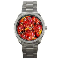 Flame Delights, Abstract Red Orange Sport Metal Watch by DianeClancy