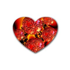 Flame Delights, Abstract Red Orange Drink Coasters 4 Pack (heart)