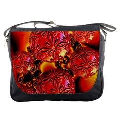 Flame Delights, Abstract Red Orange Messenger Bag by DianeClancy