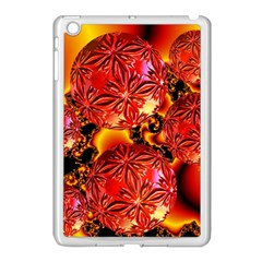 Flame Delights, Abstract Red Orange Apple iPad Mini Case (White) by DianeClancy