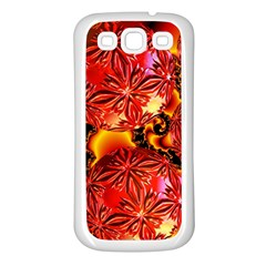 Flame Delights, Abstract Red Orange Samsung Galaxy S3 Back Case (white) by DianeClancy