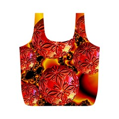 Flame Delights, Abstract Red Orange Reusable Bag (m) by DianeClancy