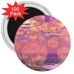 Glorious Skies, Abstract Pink And Yellow Dream 3  Button Magnet (100 Pack)