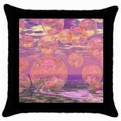 Glorious Skies, Abstract Pink And Yellow Dream Black Throw Pillow Case by DianeClancy