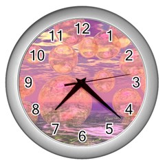 Glorious Skies, Abstract Pink And Yellow Dream Wall Clock (silver) by DianeClancy