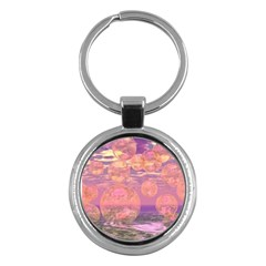 Glorious Skies, Abstract Pink And Yellow Dream Key Chain (round) by DianeClancy