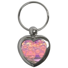 Glorious Skies, Abstract Pink And Yellow Dream Key Chain (heart) by DianeClancy