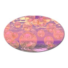 Glorious Skies, Abstract Pink And Yellow Dream Magnet (oval) by DianeClancy