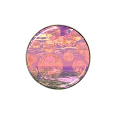 Glorious Skies, Abstract Pink And Yellow Dream Golf Ball Marker (for Hat Clip) by DianeClancy