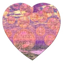 Glorious Skies, Abstract Pink And Yellow Dream Jigsaw Puzzle (heart) by DianeClancy