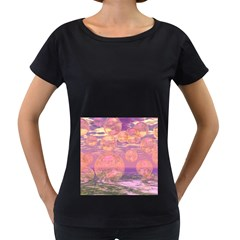 Glorious Skies, Abstract Pink And Yellow Dream Women s Loose Fit T Shirt (black) by DianeClancy