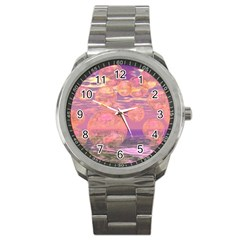 Glorious Skies, Abstract Pink And Yellow Dream Sport Metal Watch by DianeClancy