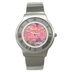 Glorious Skies, Abstract Pink And Yellow Dream Stainless Steel Watch (slim) by DianeClancy