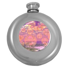 Glorious Skies, Abstract Pink And Yellow Dream Hip Flask (round) by DianeClancy