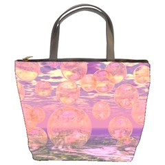 Glorious Skies, Abstract Pink And Yellow Dream Bucket Handbag by DianeClancy