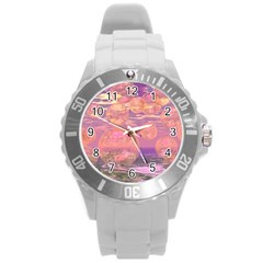 Glorious Skies, Abstract Pink And Yellow Dream Plastic Sport Watch (large) by DianeClancy