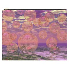 Glorious Skies, Abstract Pink And Yellow Dream Cosmetic Bag (xxxl) by DianeClancy