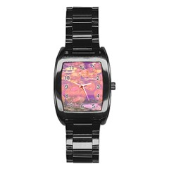 Glorious Skies, Abstract Pink And Yellow Dream Stainless Steel Barrel Watch by DianeClancy