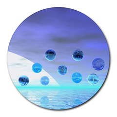 Moonlight Wonder, Abstract Journey To The Unknown 8  Mouse Pad (round) by DianeClancy