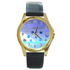 Moonlight Wonder, Abstract Journey To The Unknown Round Leather Watch (gold Rim)  by DianeClancy