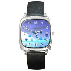 Moonlight Wonder, Abstract Journey To The Unknown Square Leather Watch by DianeClancy