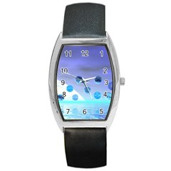 Moonlight Wonder, Abstract Journey To The Unknown Tonneau Leather Watch by DianeClancy