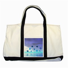 Moonlight Wonder, Abstract Journey To The Unknown Two Toned Tote Bag by DianeClancy