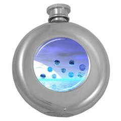 Moonlight Wonder, Abstract Journey To The Unknown Hip Flask (round) by DianeClancy